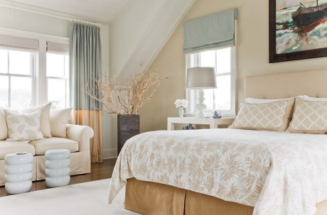 Pale Blue and Taupe Bedroom Design Window Treatments