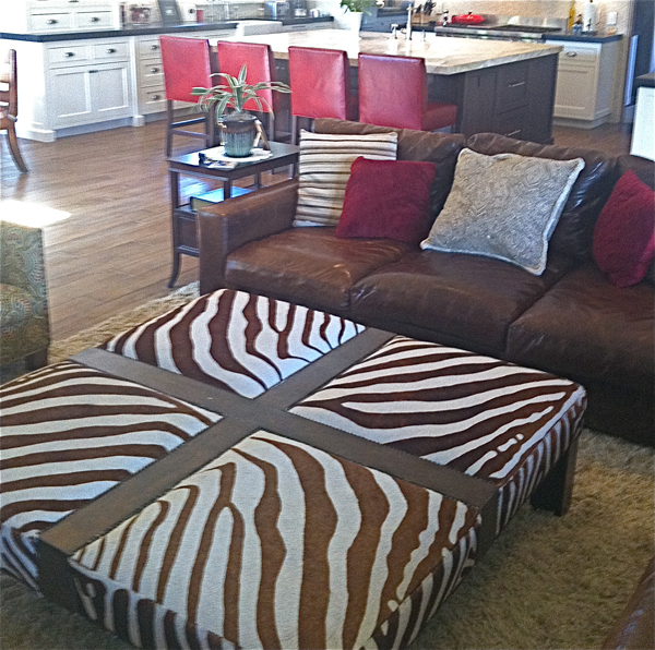 Custom Zebra Coffee Table Ottoman