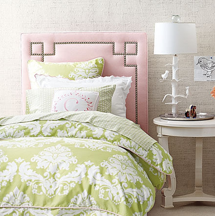 Pink and Green Girl's Bedroom Design
