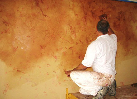 Venetian plaster installed using a trowel