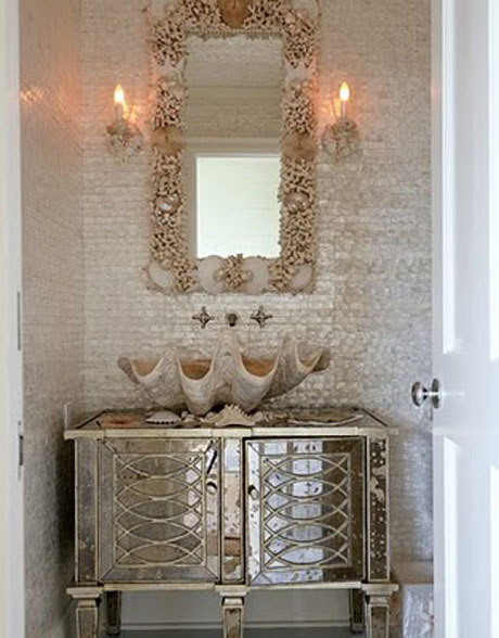 giant clam sink in powder bathroom