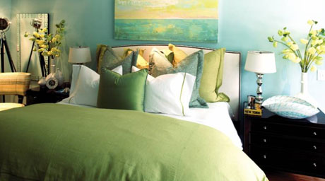 Blue and Green Bedroom Design