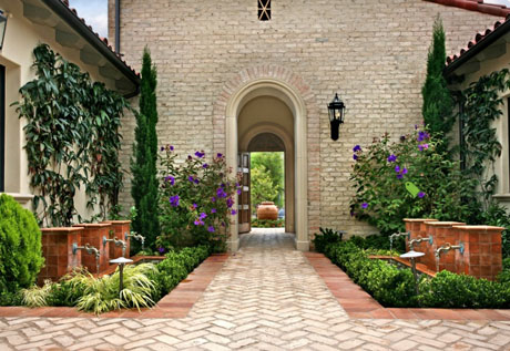Tuscan Design Exterior with Fountains