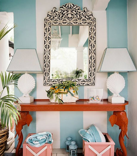 Turquoise and Orange Interiors