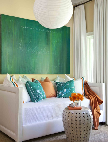 Orange-Turquoise-White-Couch-Interior