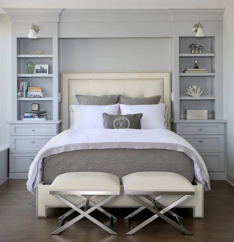 Gray & Cream Transitional Bedroom Design