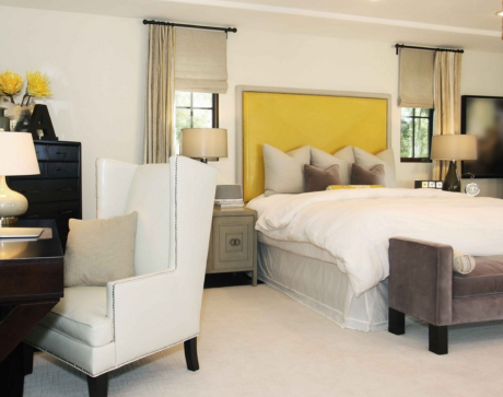 Yellow and White Bedroom Design Window Treatments