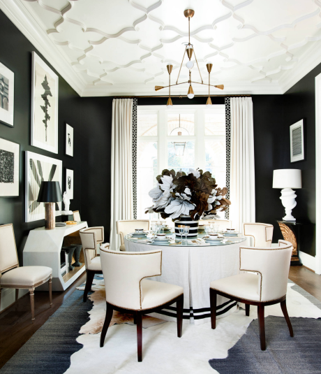 Black and White Interior Design - Transitional Dining Room