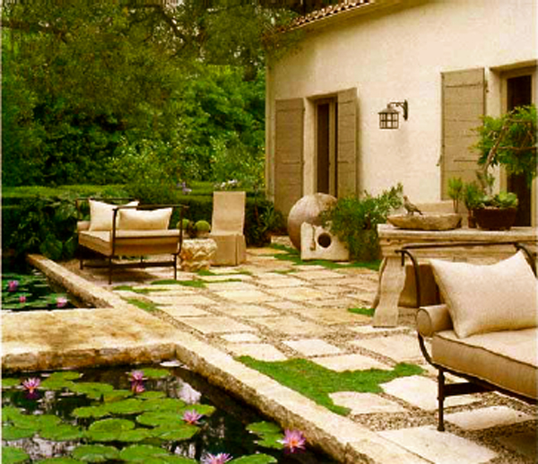 Spanish pool landscape design 600 for Interior landscape design