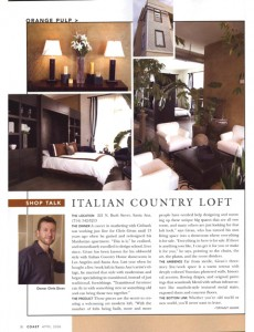 Coast Magazine Article featuring Interior Designer Chris Givan