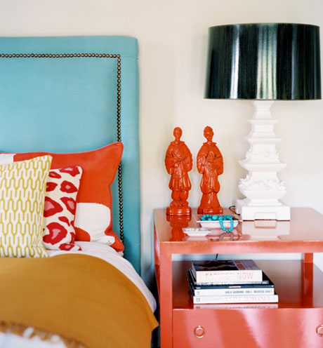Orange-Nightstand-Turquoise-Headboard