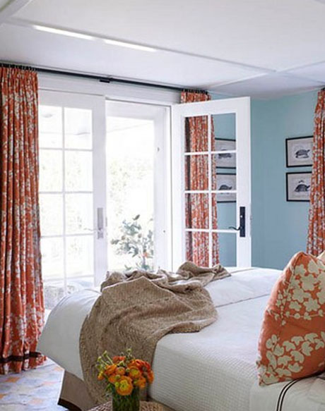 Orange-Pale-Blue-Bedroom-Interior