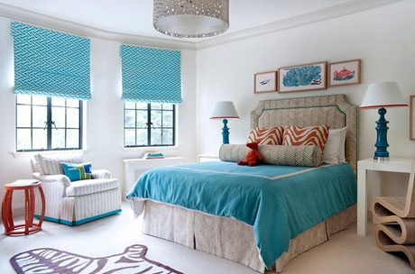 Orange Turquoise Bedroom Interior 3
