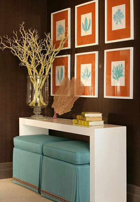Orange-Turquoise-Console-Table-Interior Design