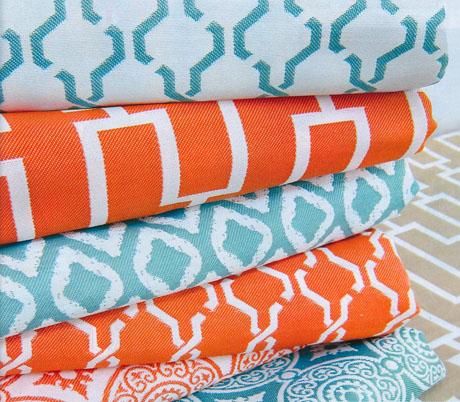 Orange-Turquoise-Fabrics
