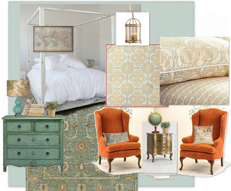 Orange-Turquoise-Interior-Mood-Board