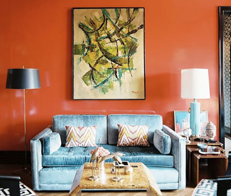 Orange-Turquoise-Sofa-Interior