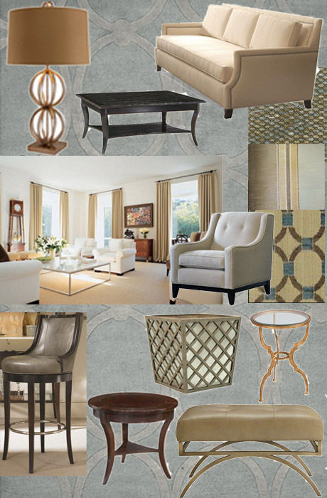 Transitional Interior Design - Family Room Mood Board
