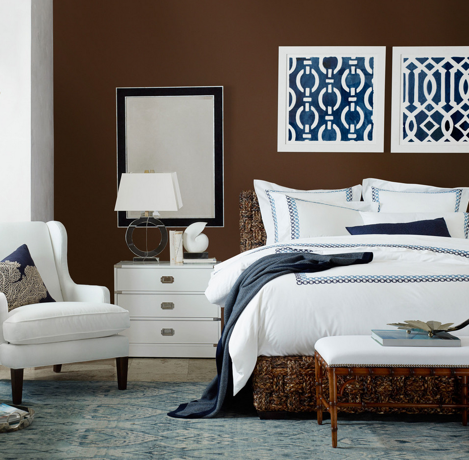 Navy, Brown & White Bedroom Design