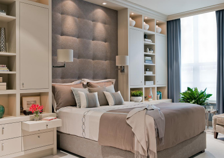 Gray, Taupe & White Bedroom Design
