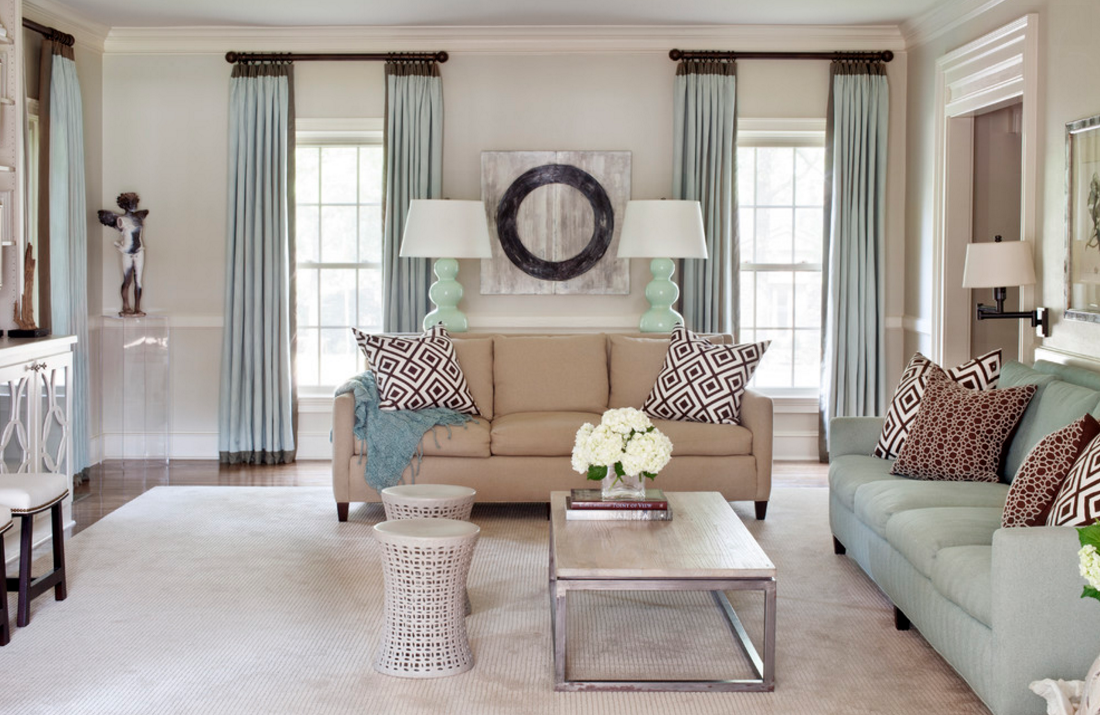 Transitional Living Room Design Window Treatments