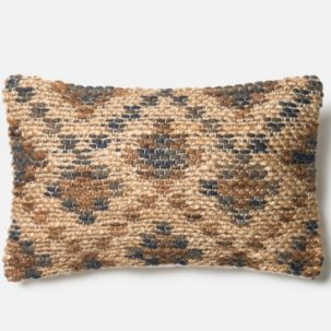 Grey Brown Tan Jute Kidney Pillow
