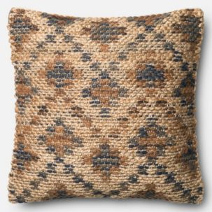 Blue Brown Beige Jute Pillow