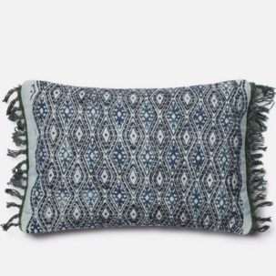 Blue Grey Diamond Kidney Pillow