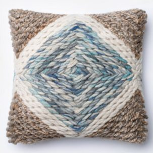 Blue White Taupe Pillow