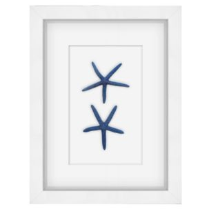 Blue and White Starfish Shadow Box Art - Small