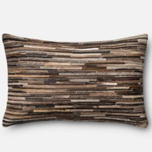 Brown Leather Patchwork Kidney Pillow