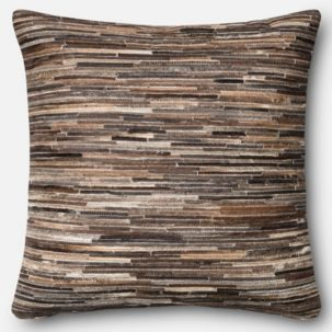 Brown Leather Patchwork Pillow