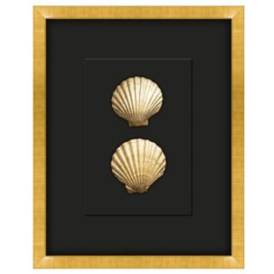 Gilded Gold Seashell Shadow Box Art