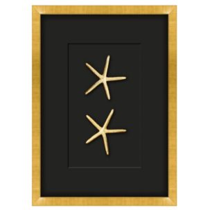 Gilded Gold Starfish Shadow Box Art - Large