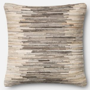 Grey Beige Leather Patchwork Pillow