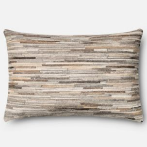 Grey Leather Patchwork Kidney Pillow