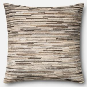 Grey Leather Patchwork Pillow