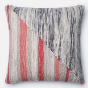 Grey Coral Red Pillow