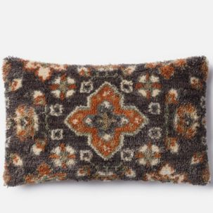 Grey Rust Beige Kidney Pillow