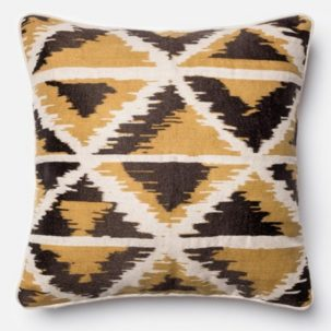 "18"" Grey Yellow Black White Pillow"
