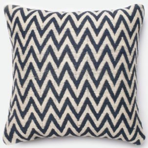 Navy Beige Chevron Pillow