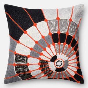 Orange Grey White Black Pillow