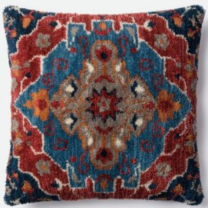 Red Blue Grey Pillow