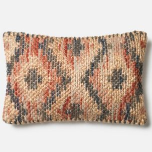 Red Grey Beige Jute Kidney Pillow