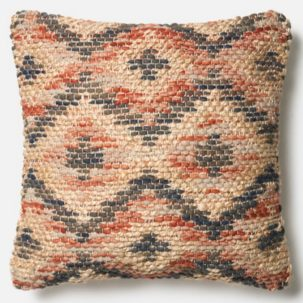 Red Grey Beige Jute Pillow