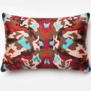 Red Multi Abstract Kidney Pillow