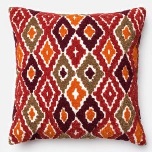Red Orange Olive Green Brown Pillow